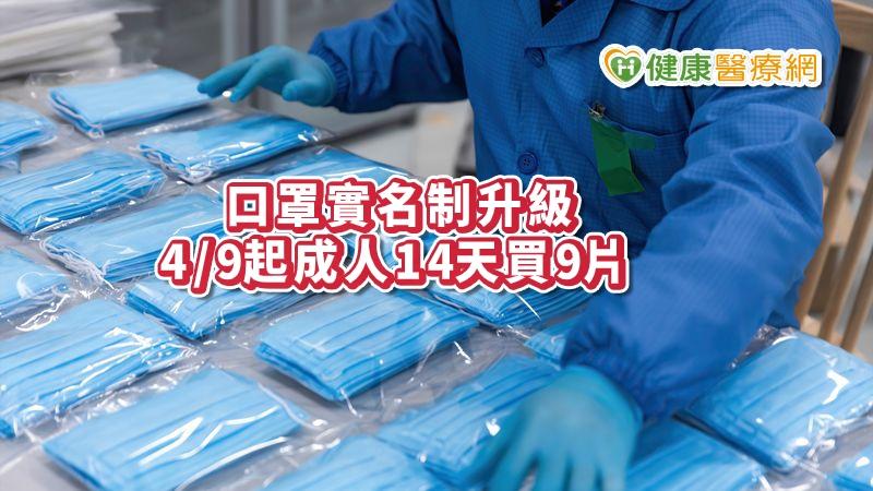 口罩實名制2.0版 4/9起成人14天買9片,取消單雙號限制_花賜康